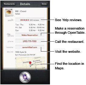 Siri works with Yelp, OpenTable