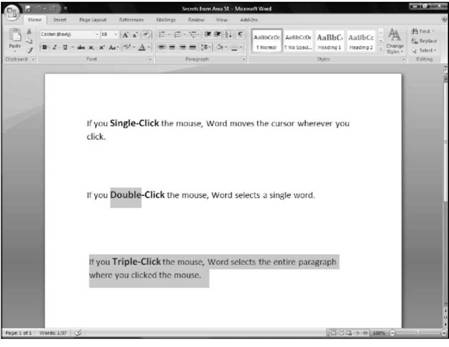Selecting data with the keyboard Microsoft Office 2007