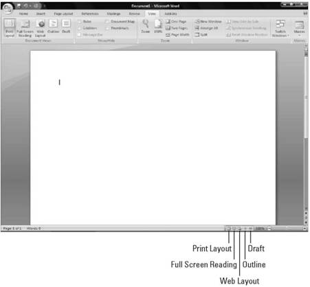 Switching between views Microsoft Office 2007