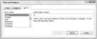 Using the Go To command Microsoft Office 2007