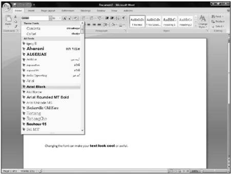 Changing the Font Microsoft Office 2007