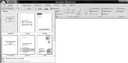 Inserting New Pages Microsoft Office 2007