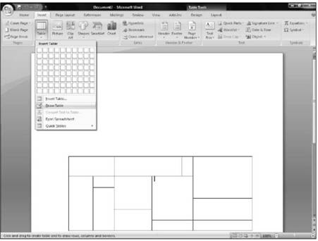 Use the Insert Table dialog box Microsoft Office 2007