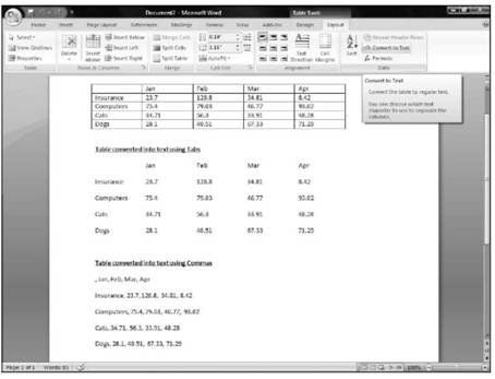 Define how to convert your text into a table Microsoft Office 2007