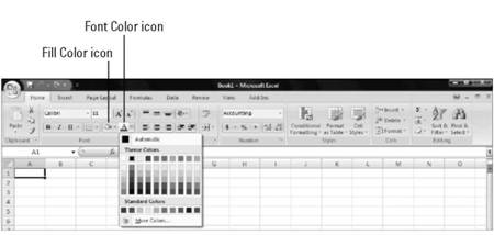 Formatting with color Microsoft Office 2007