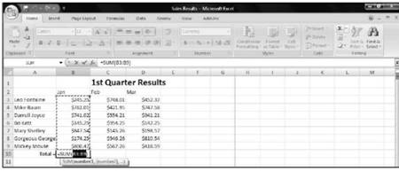 Using the AutoSum command Microsoft Excel 2007