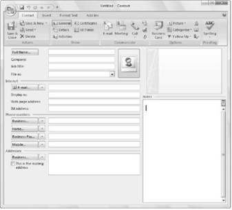 Storing Contacts and Organizing Tasks Microsoft Outlook 2007