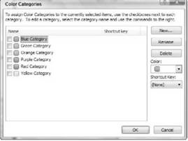 Creating categories Microsoft Outlook 2007