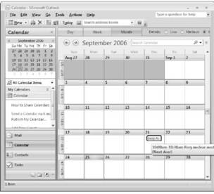 Calendar view appears. Microsoft Outlook 2007