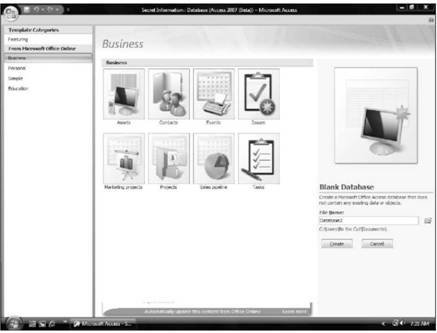 Creating a database from a template Microsoft Access 2007