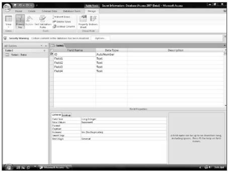 Adding and deleting a field Microsoft Access 2007