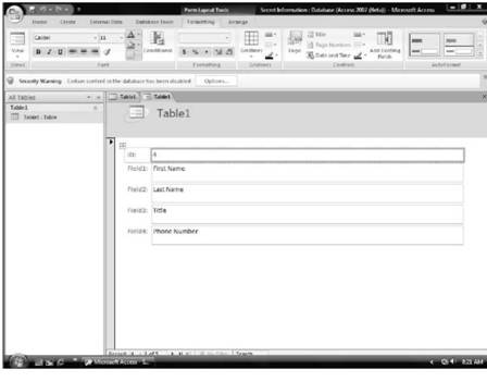 Using Form view Microsoft Access 2007