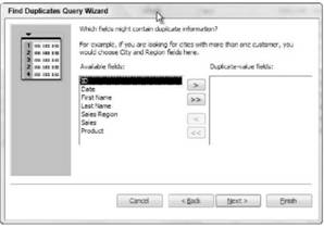 Creating a query that finds duplicate field data Microsoft Access 2007