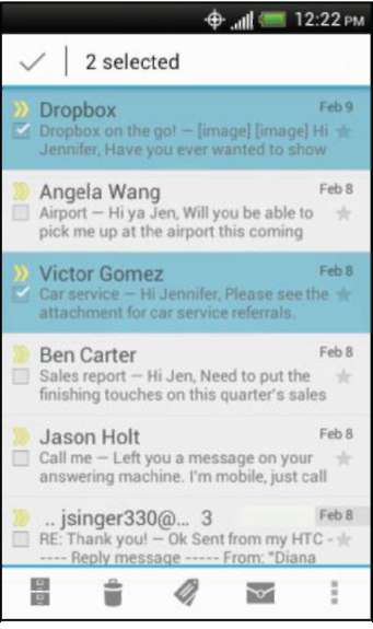 Viewing your Gmail Inbox HTC One V