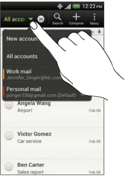 Checking your Mail inbox HTC One V