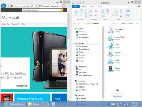 Snap a WINDOW TO TAKE Up HALF THE SCREEN Windows 8