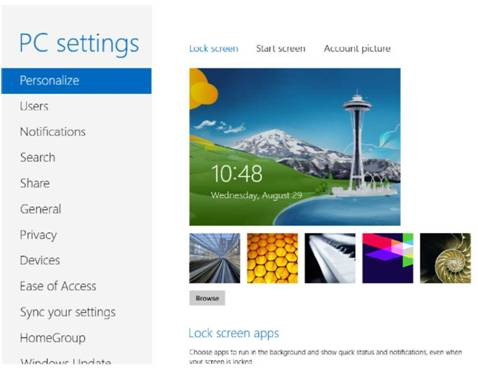 Working with pc settings and control panel Windows 8