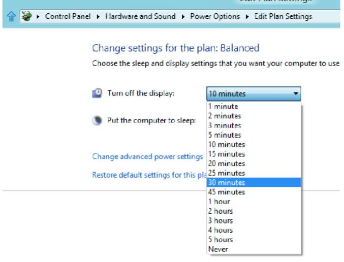 Switching to a Different Power Plan Windows 8