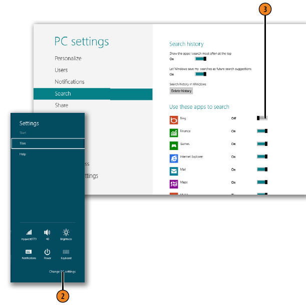 Setting Which Apps to Use for Searching WINDOWS 8