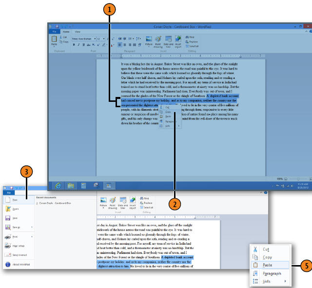 Cutting and Copying to Windows Clipboard WINDOWS 8