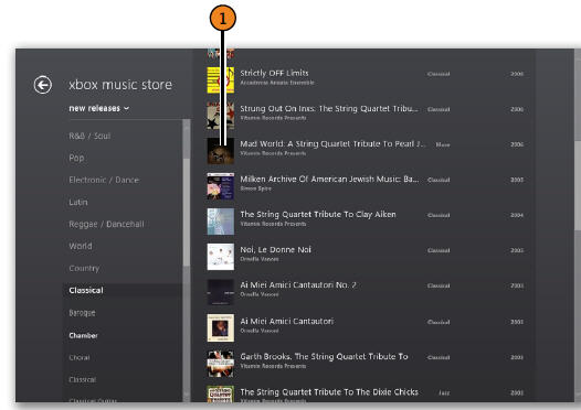 Previewing Music WINDOWS 8
