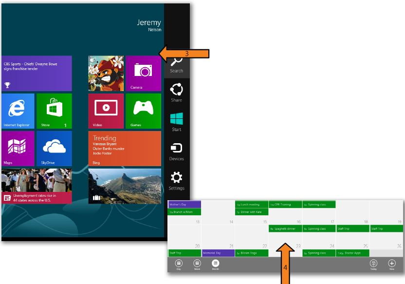 Swipe up to display a toolbar WINDOWS 8
