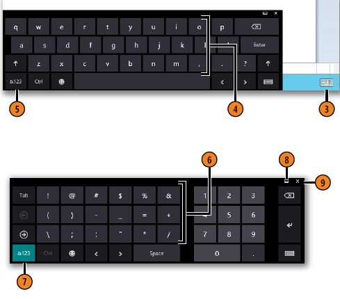 Tap keys to enter punctuation or numbers WINDOWS 8