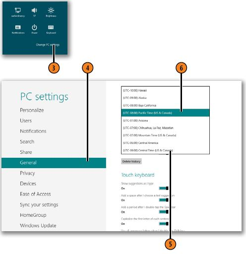 Changing the time and date WINDOWS 8