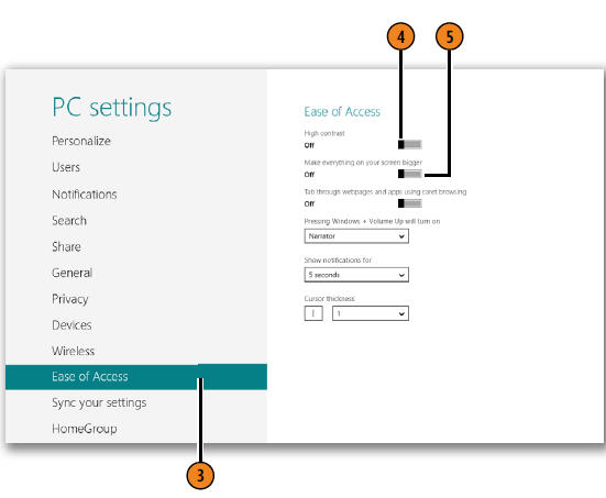 Controlling Contrast and Screen Size WINDOWS 8